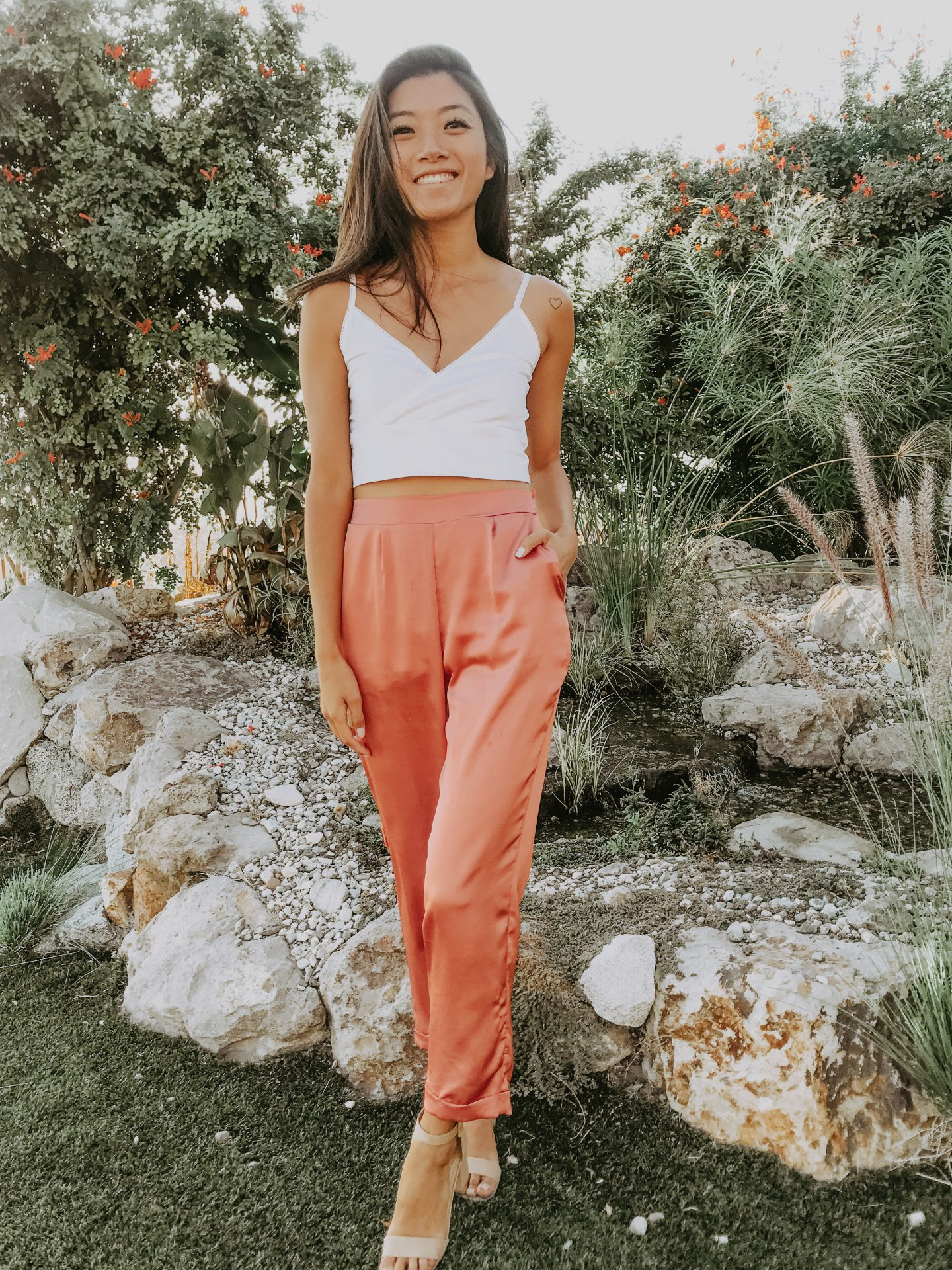 Date night satin pants look